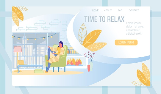 Landing Page with Woman Rest with Cup of Coffee
