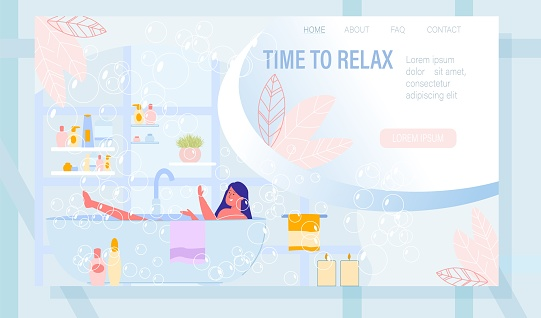 Landing Page with Young Woman Taking Bath at Home