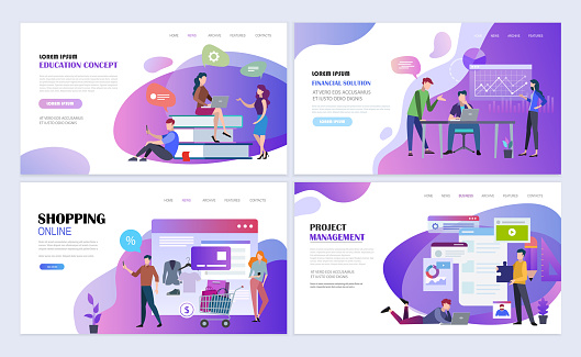 Landing pages templates for education, business, online shopping