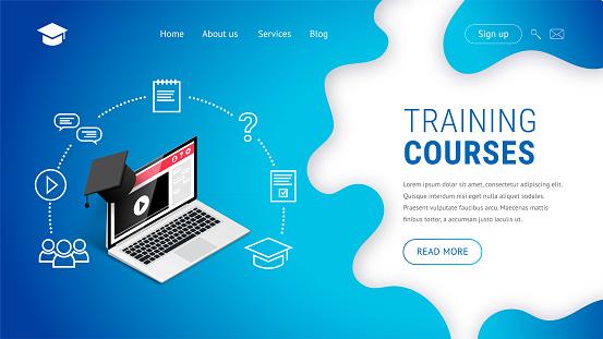 landing Training courses laptop graduation cap