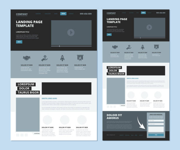 landing wireframe. internet web page ui template menu navigation video gallery and footer information vector landing design - email templates stock illustrations