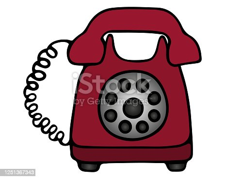 istock Landline telephone. Color vector illustration. A device for receiving and transmitting sound at a distance. The device with a disk dialer on an isolated white background. Retro model of red color. Cartoon style. 1251367343