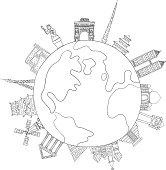 Landmark around the world illustration, in line art syle, black and white