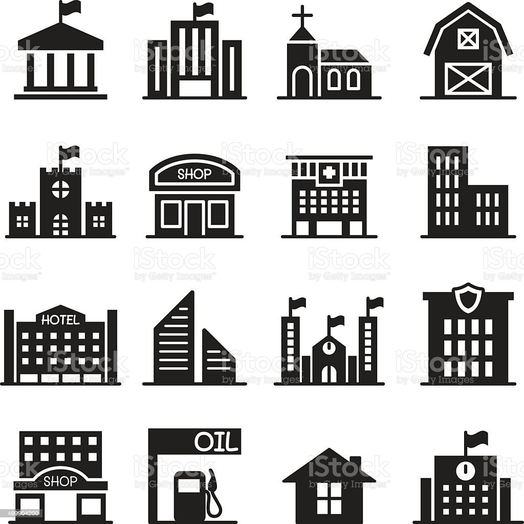 Landmark building icons set Vector illustration vector art illustration
