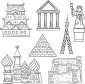 Landmark collection in line art style, black and white