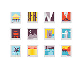 Flat icons including forest, waterfall, volcano, China, castle, paradise, etc.