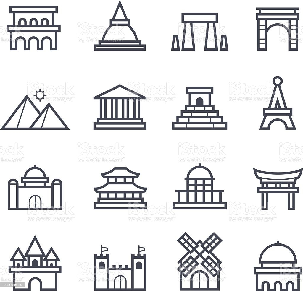 Landmark Icon Bold Stroke vector art illustration