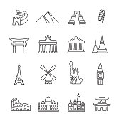 Landmark Icon, Thin line, Set of 16 editable filled, Simple clearly defined shapes in one color.