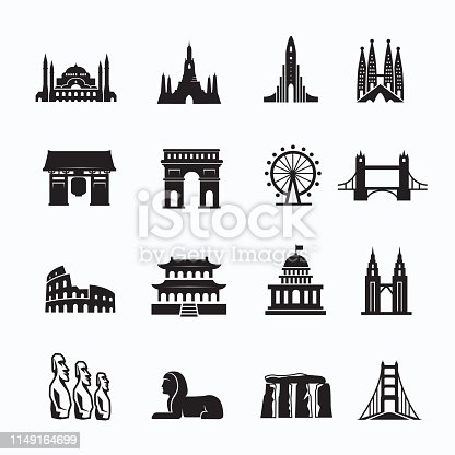 Travel Landmark icon set and cultures, set of 16 editable filled, Simple clearly defined shapes in one color.