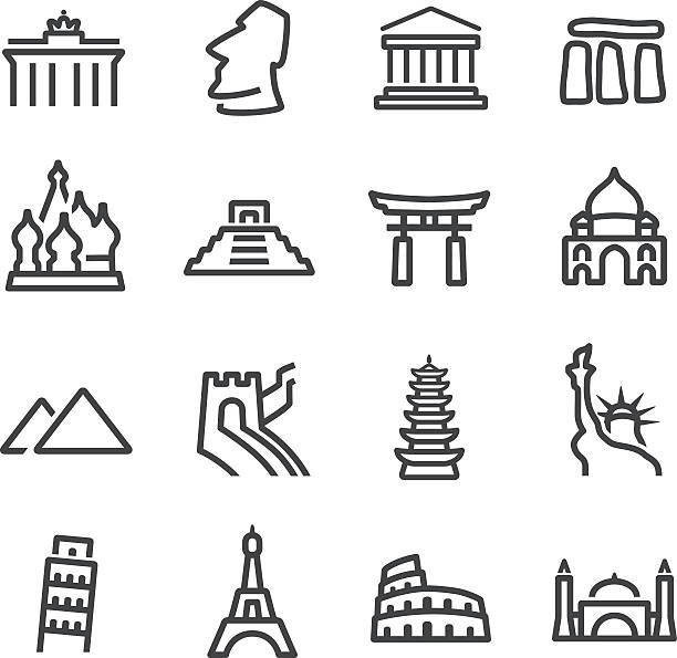 illustrations, cliparts, dessins animés et icônes de monument de ligne icônes-série - rome