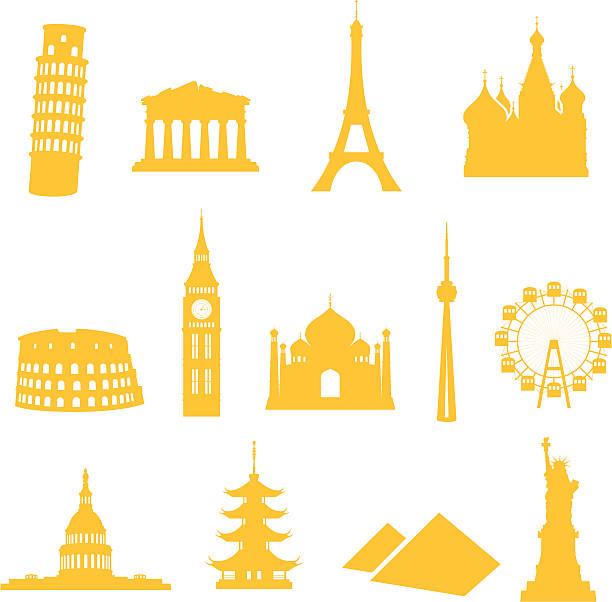 Landmark Icons 13 gradient free landmark icons - easy to change colour. eiffel tower stock illustrations