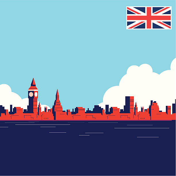 uk landmark thames - union jack flag stock illustrations, clip art, cartoons, & icons