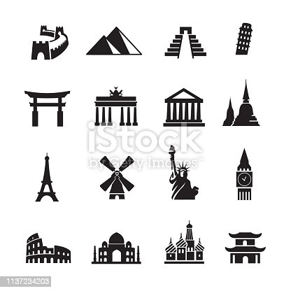 Landmark Travel Icons, Set of 16 editable filled, Simple clearly defined shapes in one color.