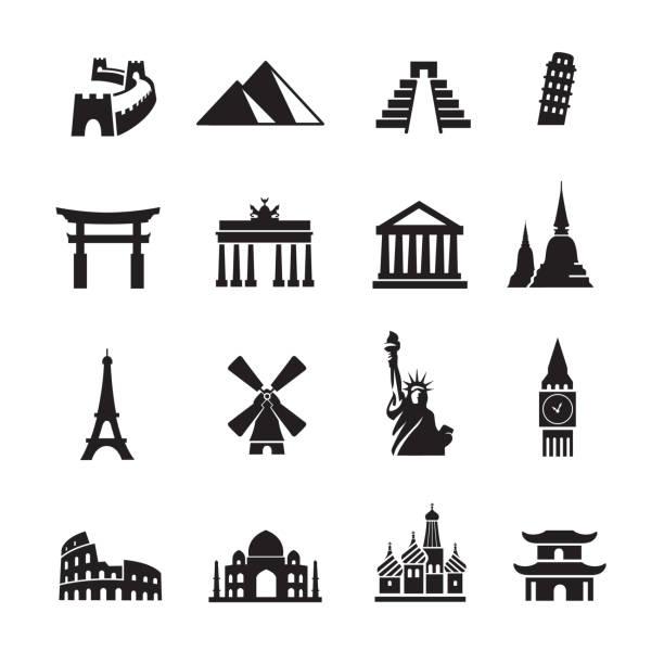 stockillustraties, clipart, cartoons en iconen met landmark reizen iconen - monument