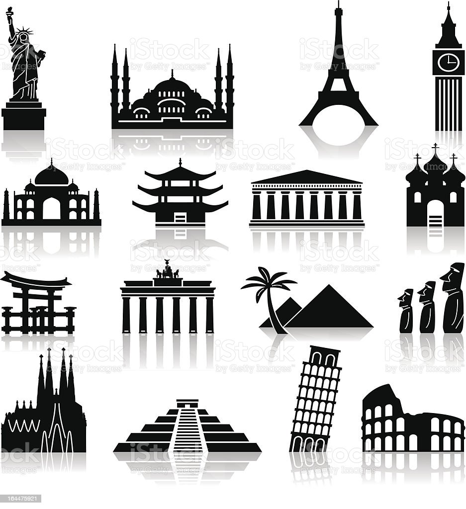 Landmark travel icons vector art illustration