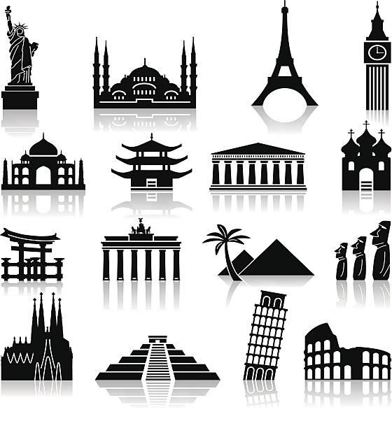 bildbanksillustrationer, clip art samt tecknat material och ikoner med landmark travel icons - internationell sevärdhet