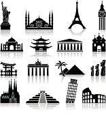 Landmark travel icons