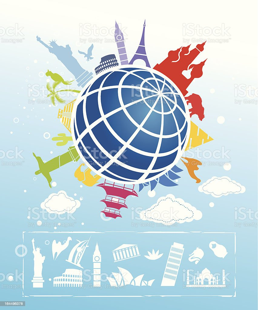 Landmarks around the globe concept vector art illustration