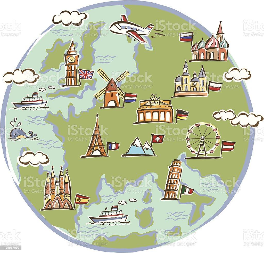 Landmarks Drawn on Globe royalty-free stock vector art