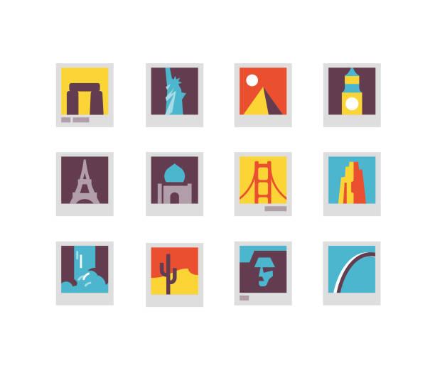 landmarks flat icons - st louis stock illustrations