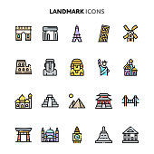Vector icons related to famous landmarks in the worlds. Symbols such as historical buildings, statues and landmarks are included in this set. Layered and still looks perfect in 32x32px.