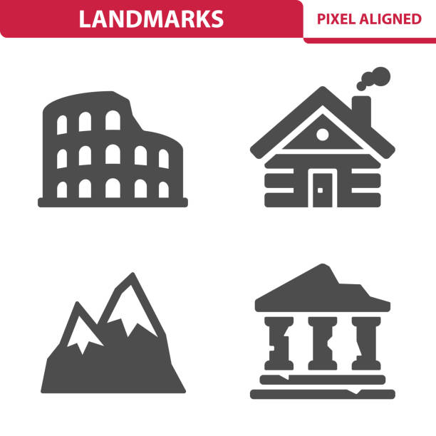 landmarks icons - log cabin stock illustrations, clip art, cartoons, & icons