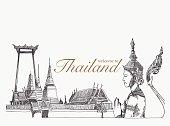 Landmarks in thailand, hand drawn, sketch vector