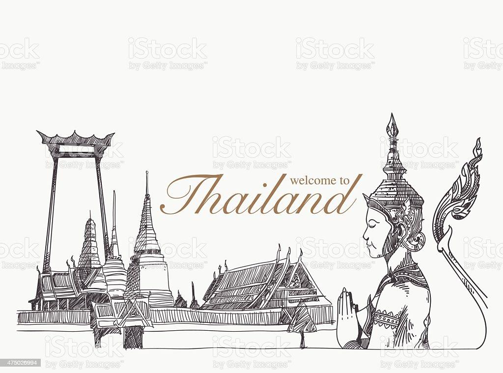 Landmarks in thailand, hand drawn, sketch vector vector art illustration
