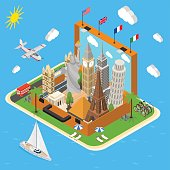 Landmarks in Vintage Travel Suitcase Concept Isometric View. Vector