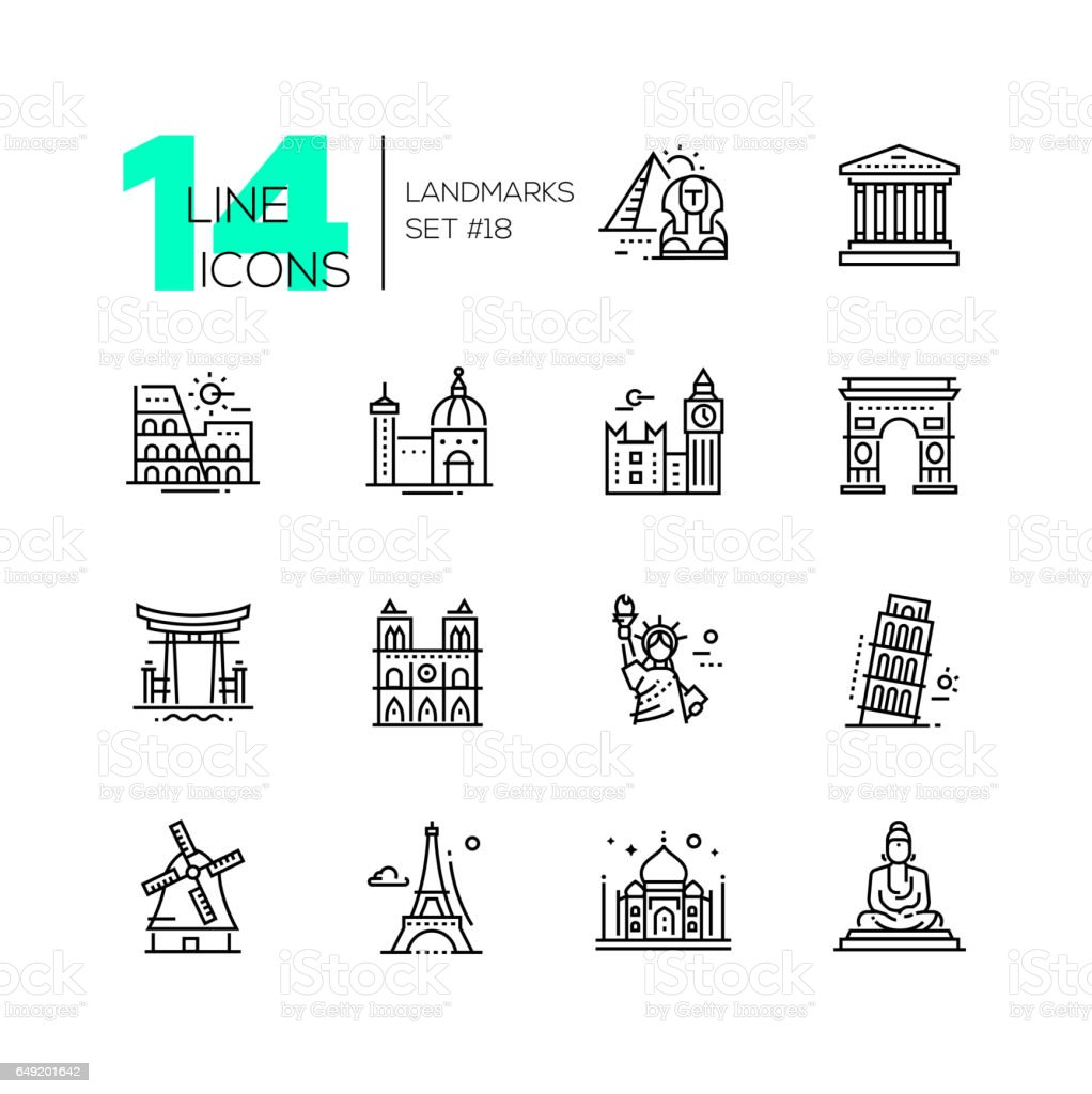 Landmarks - modern single line icons set vector art illustration