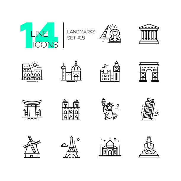 Landmarks - modern single line icons set Landmarks - vector modern single line icons set. Differents landmarks as Statue of Liberty, Taj Mahal, Tower of London, Pyramid, Torii. eiffel tower stock illustrations