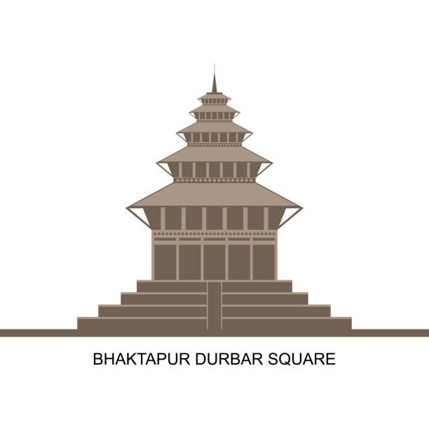 достопримечательности непала. храмы площади дурбар в бхактапуре, долина катманду, непал. он является объектом всемирного наследия оон. ист� - unesco stock illustrations
