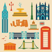 Landmarks of United Kingdom, vector colorful cartoon flat icon set