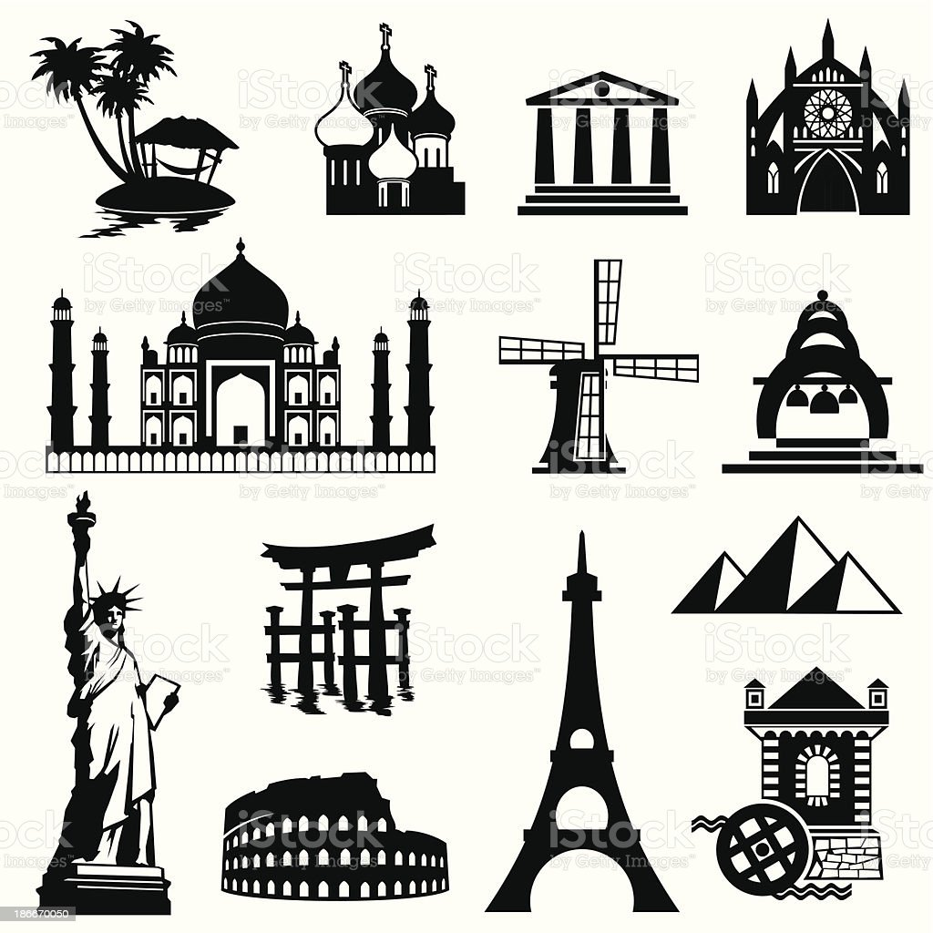 landmarks set vector art illustration