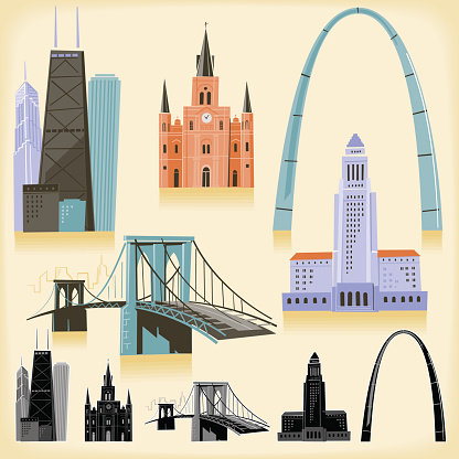 Five iconic building from across the USA on a loose sketchy style. Global colors, no transparencies and  monochromatic versions included.
