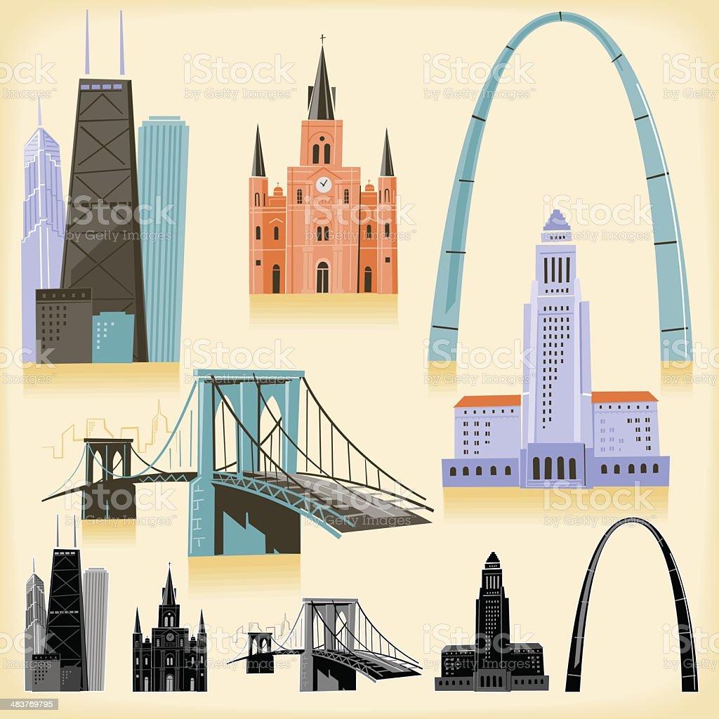 USA Landmarks vector art illustration