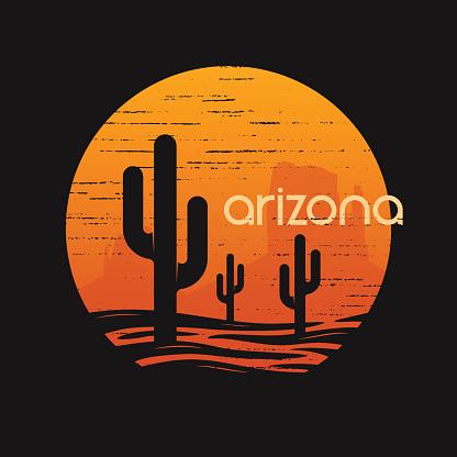 Landsape of Arizona state. T-shirt and apparel vector design, print, typography, poster, emblem.
