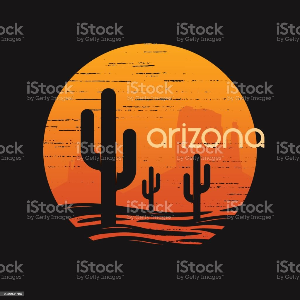 Landsape of Arizona state. T-shirt and apparel vector design, print, typography, poster, emblem. vector art illustration