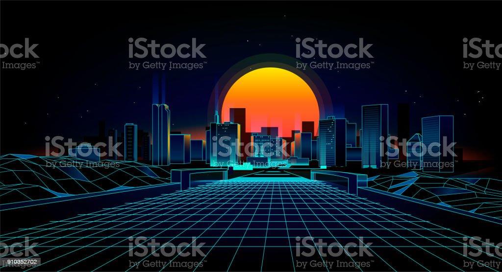 landscape 1980s style vector art illustration