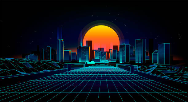illustrazioni stock, clip art, cartoni animati e icone di tendenza di landscape 1980s style - city