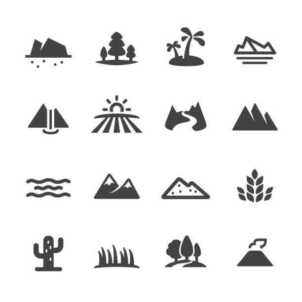 landschaft und landform ikonen - acme-serie - vulkane stock-grafiken, -clipart, -cartoons und -symbole