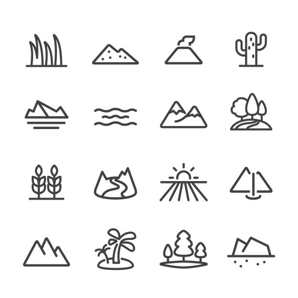 landscape and landform icons - line series - desert stock illustrations