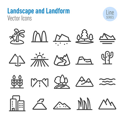 Landscape and Landform Icons - Vector Line Series