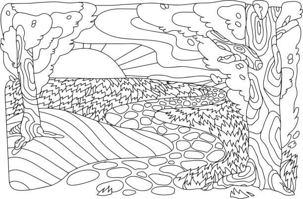 antistress-landschaft. baum, weg, sonne und wolken. vektor-bild im stil des symbols. - landschaftstattoo stock-grafiken, -clipart, -cartoons und -symbole