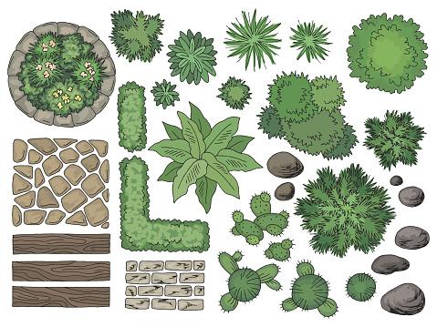 Landscape architect design element set color top sketch aerial view isolated illustration vector
