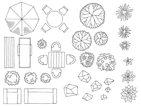 Landscape architect design element set graphic black white top sketch aerial view isolated illustration vector