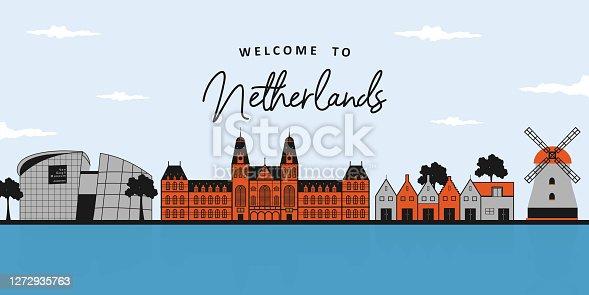 Landscape architecture panoramic of colorful landmark buildings Windmills House, Rijksmuseum, Van Gogh Museum, The Ijsselmeer. Famous destination for traveler in Netherlands, Europe.