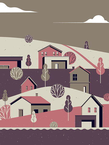Landscape architecture, small village with mountains and river, vintage style