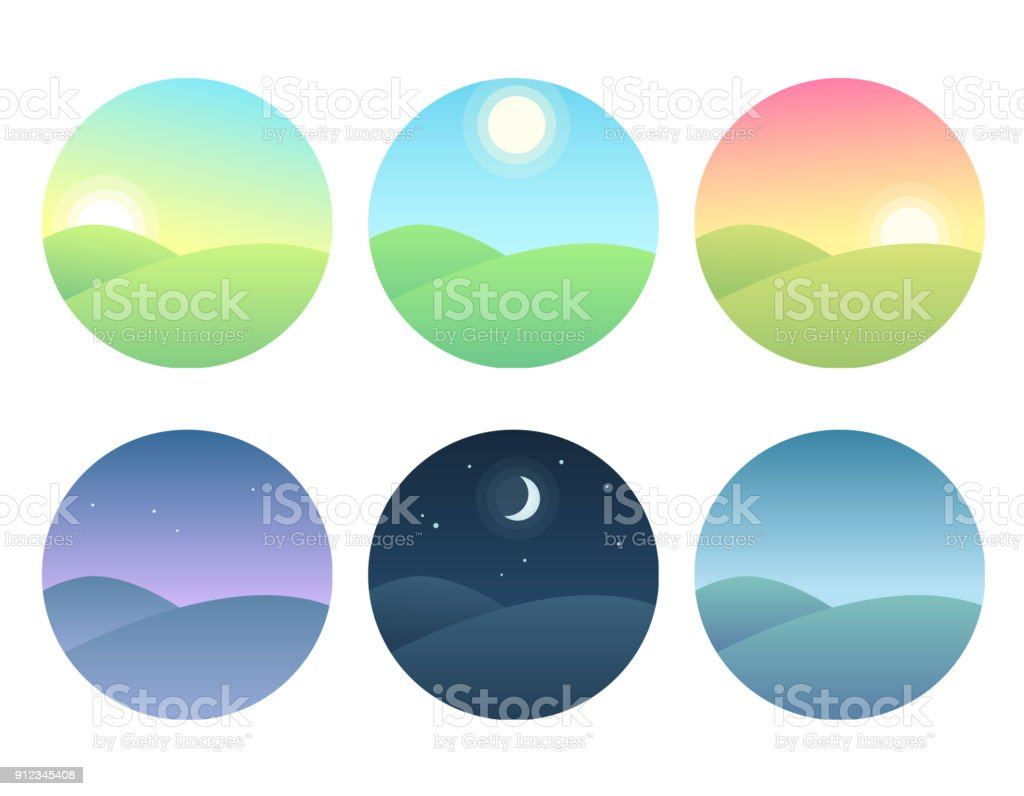 Landscape at different times of day vector art illustration