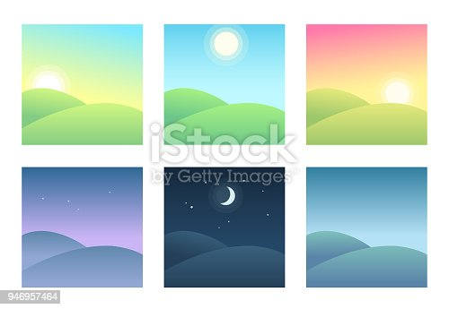 Landscape at different times of day, daily cycle illustration. Beautiful hills at morning, day and night.